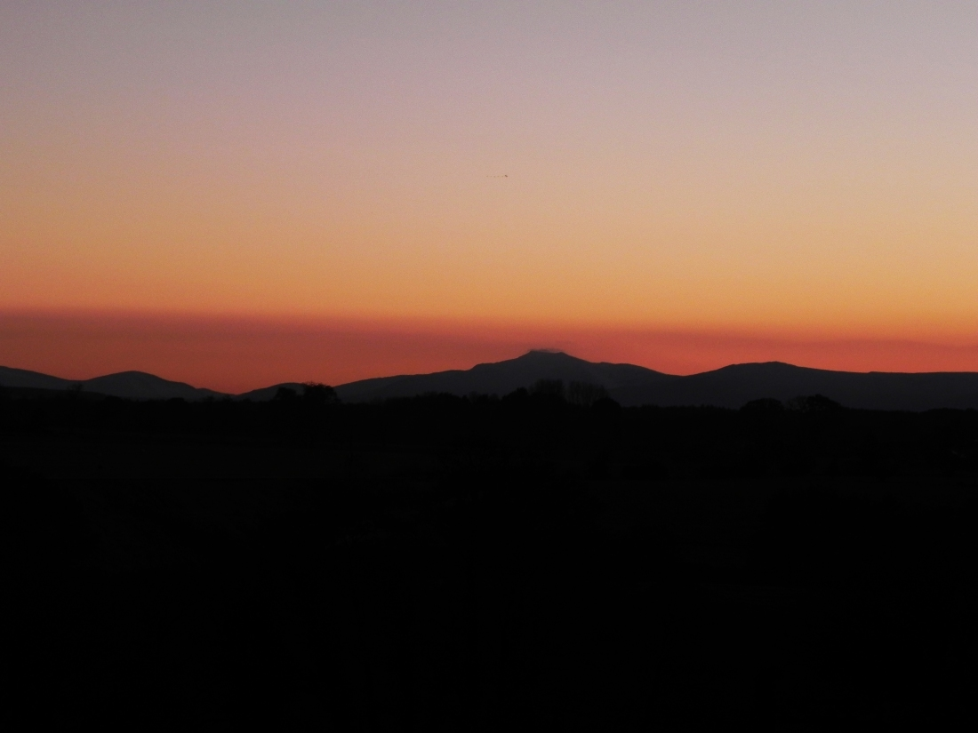 Sunset over the Cumbrian mountains